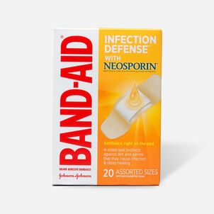 Band-Aid Bandages with Neosporin Antibiotic Ointment, Assorted Sizes, 20 ct