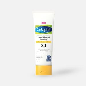 Cetaphil Sun Sheer Mineral Sunscreen Lotion for Face and Body, SPF 30, 3 oz