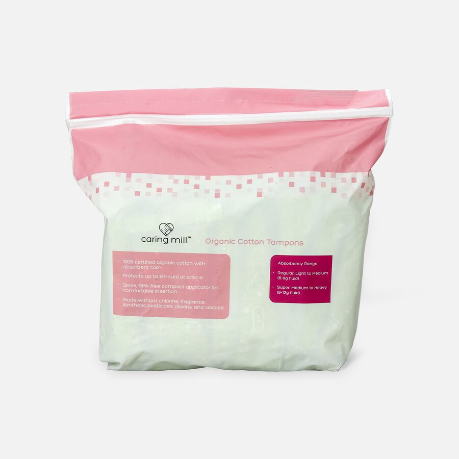 Caring Mill™ Organic Cotton Regular Tampons, , large image number 1