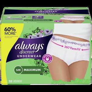 Always Discreet Incontinence Underwear for Women, Maximum Absorbency