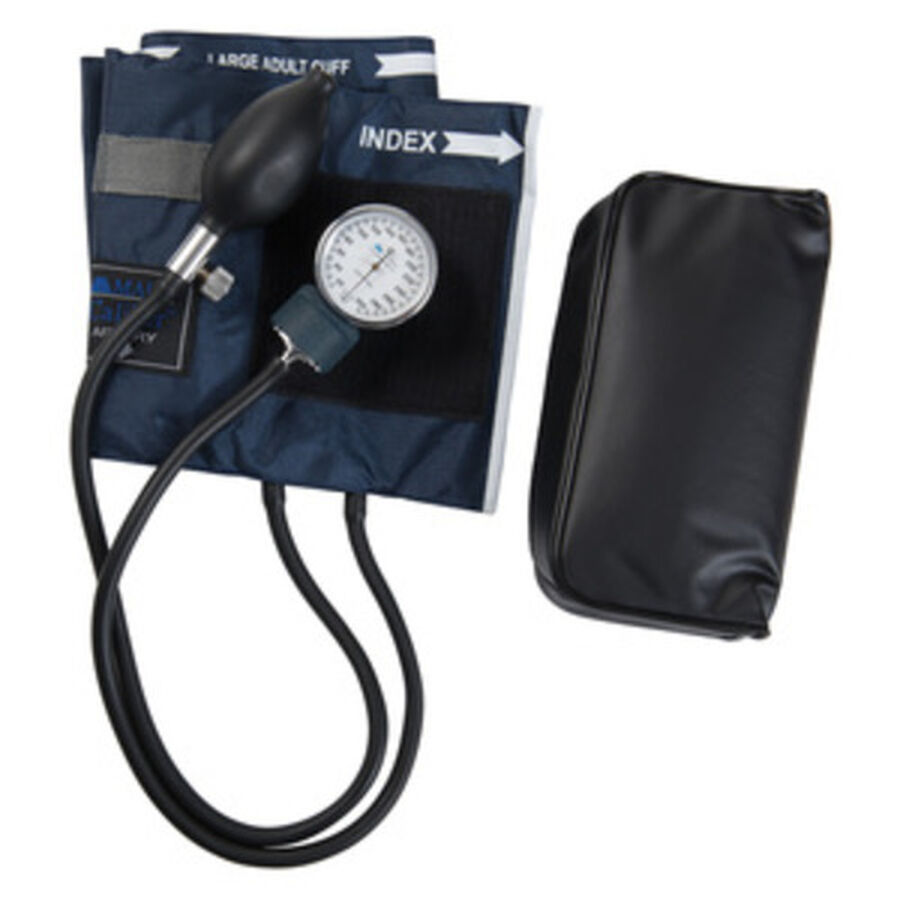Adult CALIBER Aneroid Sphygmomanometers with Blue Nylon Cuff, 1 ea, , large image number 2