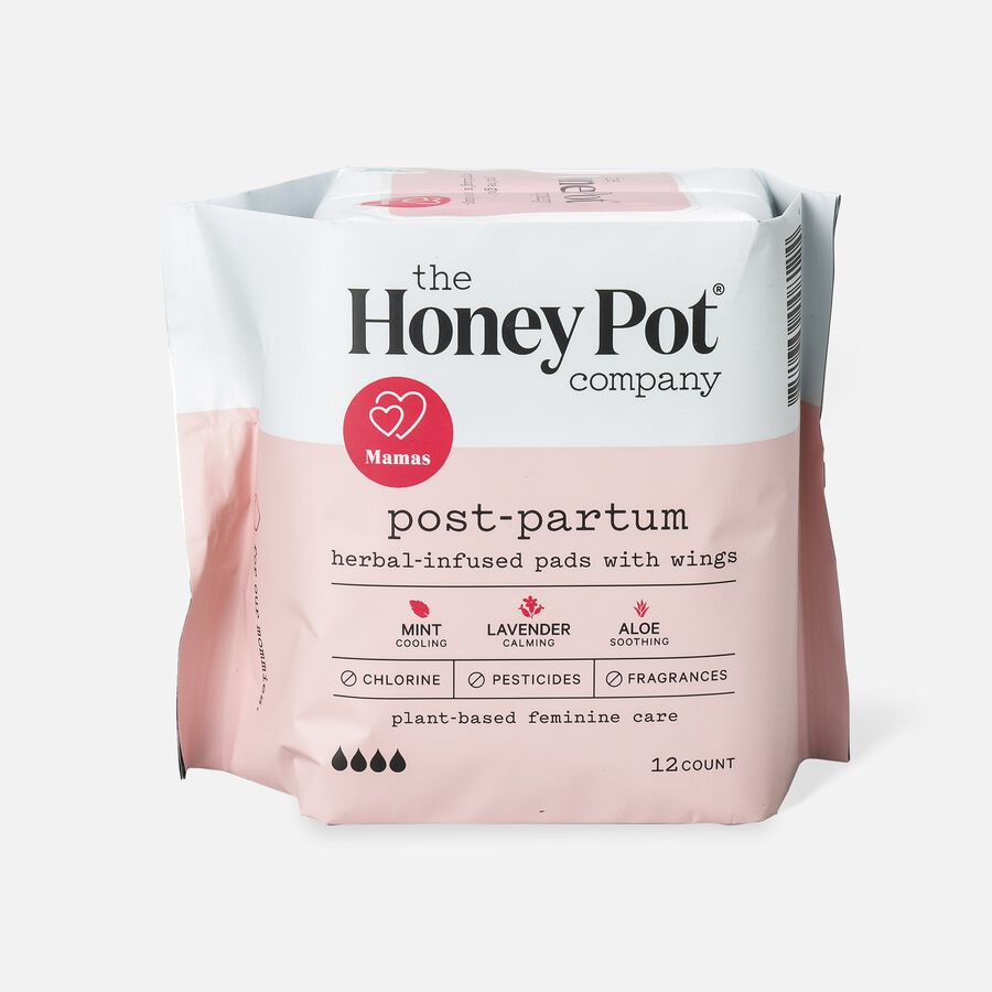 The Honey Pot Postpartum Herbal Pads with Wings, 12 ct, , large image number 0