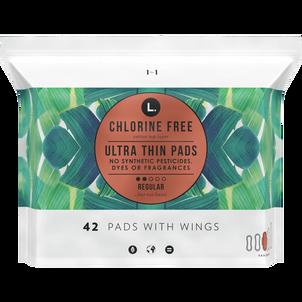 L. Chlorine Free Ultra Thin Pads, Organic Cotton