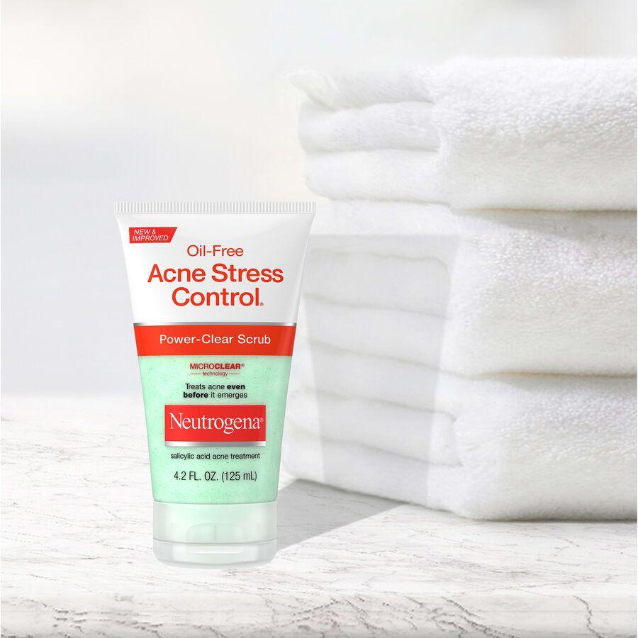 Neutrogena Oil-Free Acne Stress Control Power-Clear Scrub, 4.2 fl oz, , large image number 4