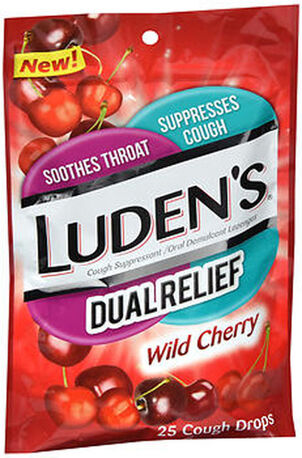 Luden's Dual Relief Wild Cherry Cough Drops, 25 ct.
