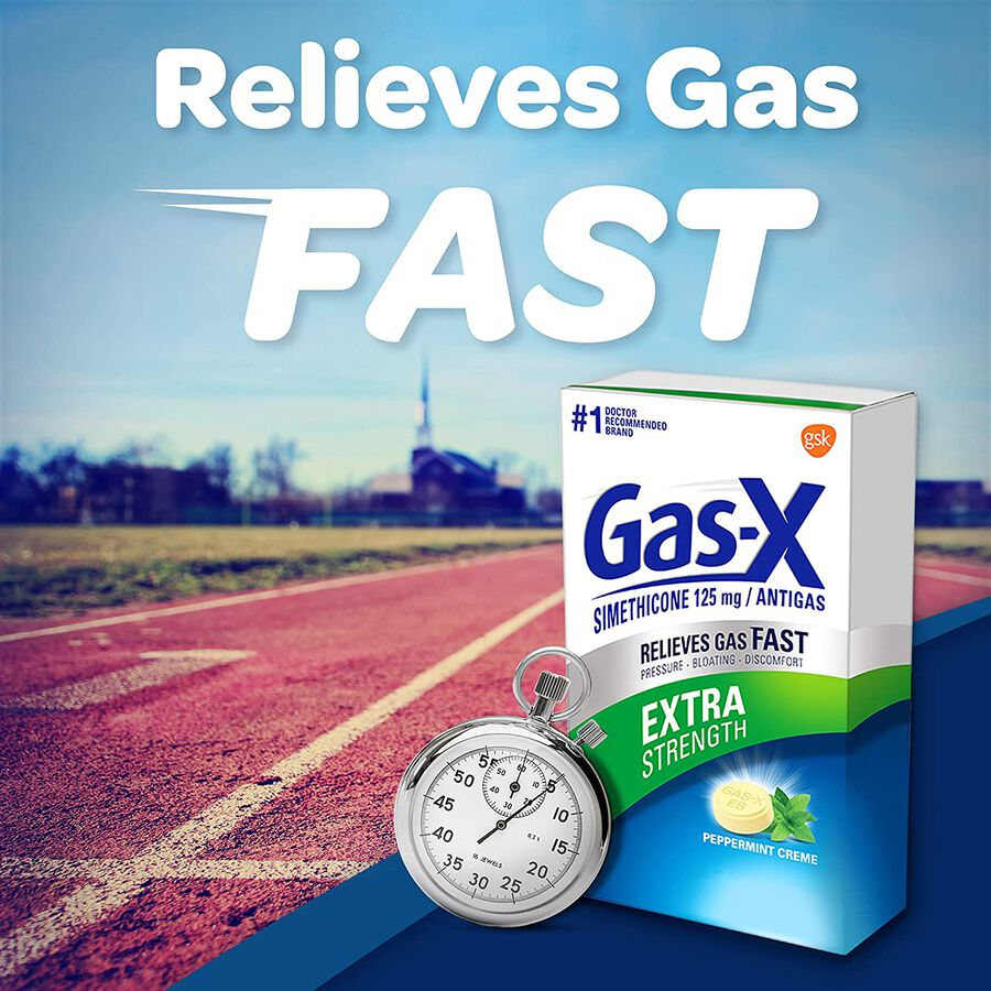 Gas-X Extra Strength Peppermint Chewable Tablet, For Fast Relief From Gas, Bloating & Discomfort, 48 ct, , large image number 6