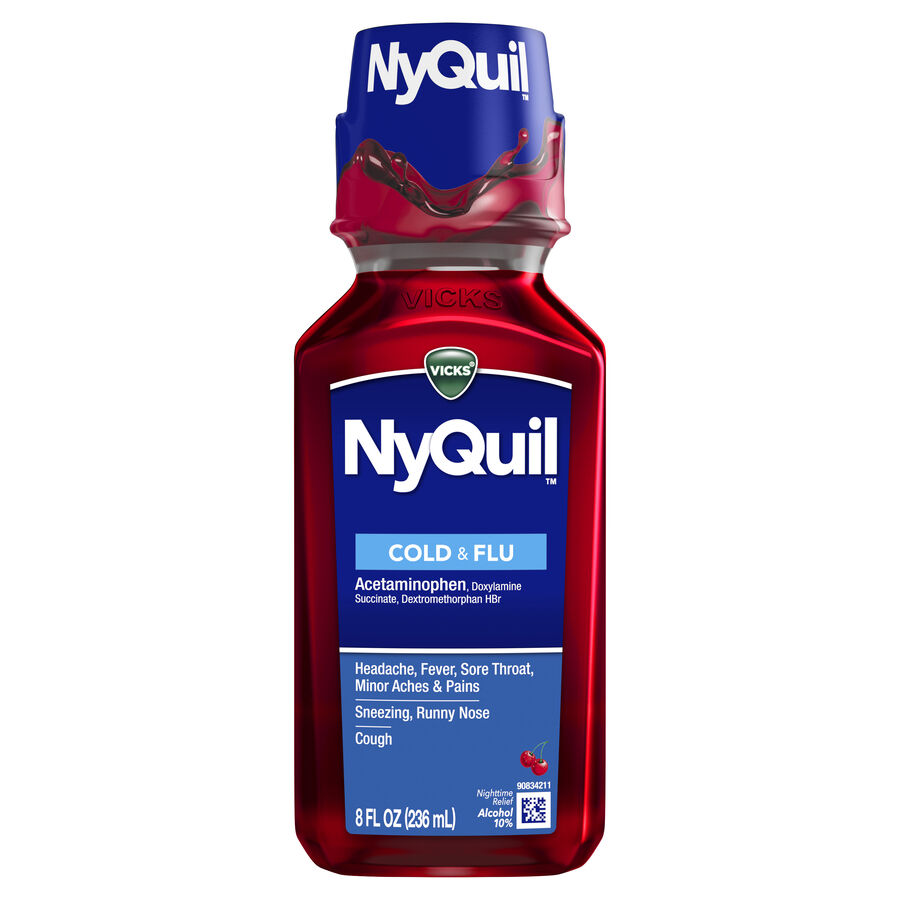 Vicks NyQuil Cold & Flu, Cherry, , large image number 0