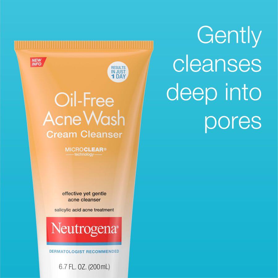 Neutrogena Oil-Free Acne Wash Cream Cleanser, 6.7 fl oz, , large image number 4