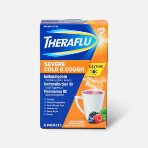 Theraflu Day Time Severe Cold & Cough, Berry Infused with Menthol and Green Tea, 6 ct