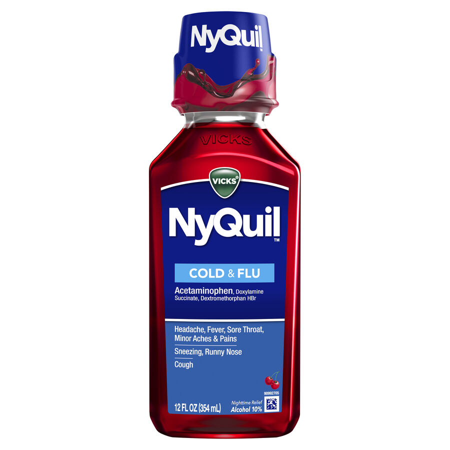 Vicks NyQuil Cold & Flu, Cherry, , large image number 2