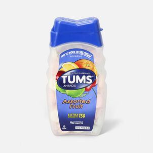 TUMS Extra Strength Assorted Fruit Antacid Chewable Tablets for Heartburn Relief, 96 ct