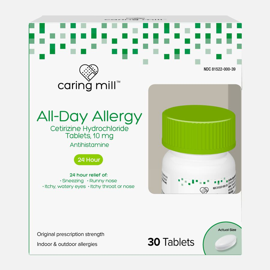 Caring Mill™ All-Day Allergy Cetirizine Hydrochloride Tablets, , large image number 0