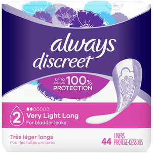 Always Discreet Postpartum Incontinence Liners, Very Light Absorbency, Long Length, 44 Count