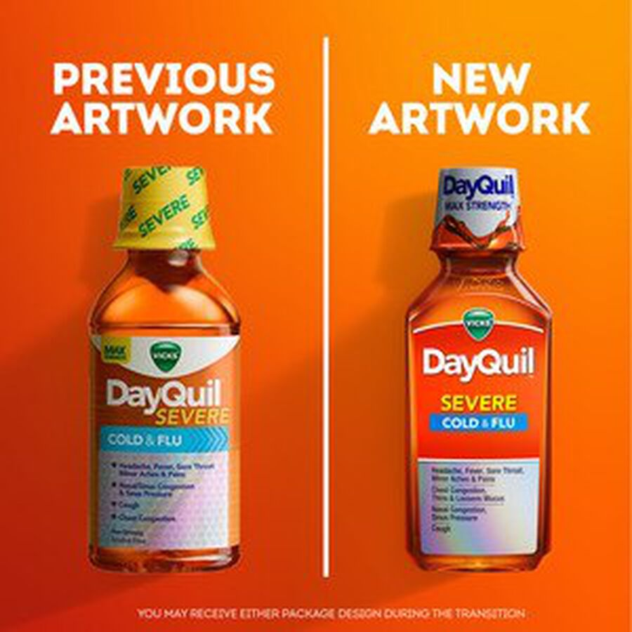 Vicks DayQuil Severe Liquid, 8 oz, , large image number 3