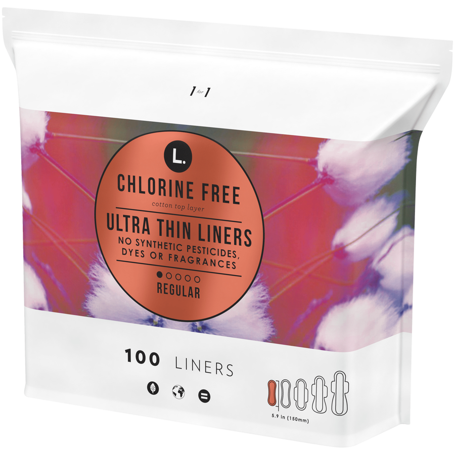 L. Chlorine Free Ultra Thin Liners Regular Absorbency, Organic Cotton, 100 Count, , large image number 5