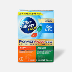 Alka-Seltzer Plus PowerMax Gels, Cold & Flu, Day & Night, 36ct