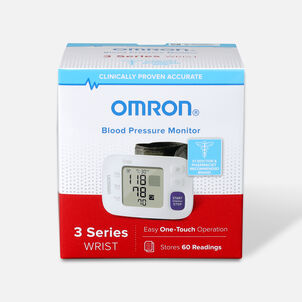 OMRON 3 Series Wrist Blood Pressure Monitor (BP6100); 60-Reading Memory with Irregular Heartbeat Detection