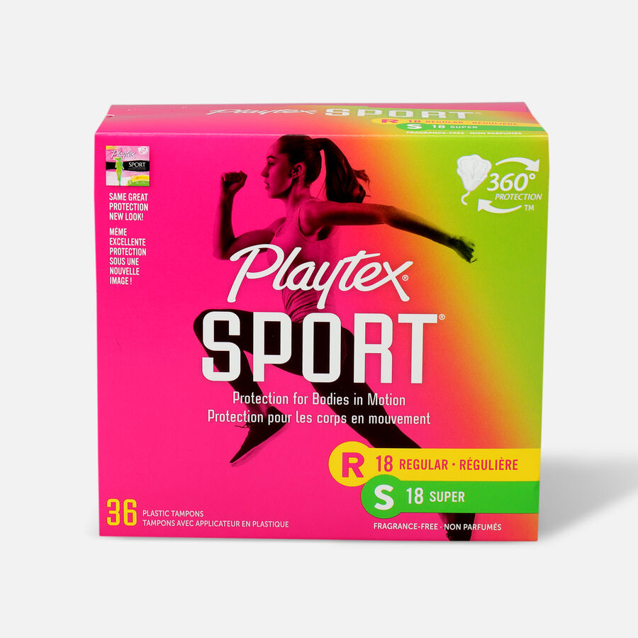 Playtex Sport Multipack Tampons, Unscented, 36ct (Reg/Super), , large image number 0