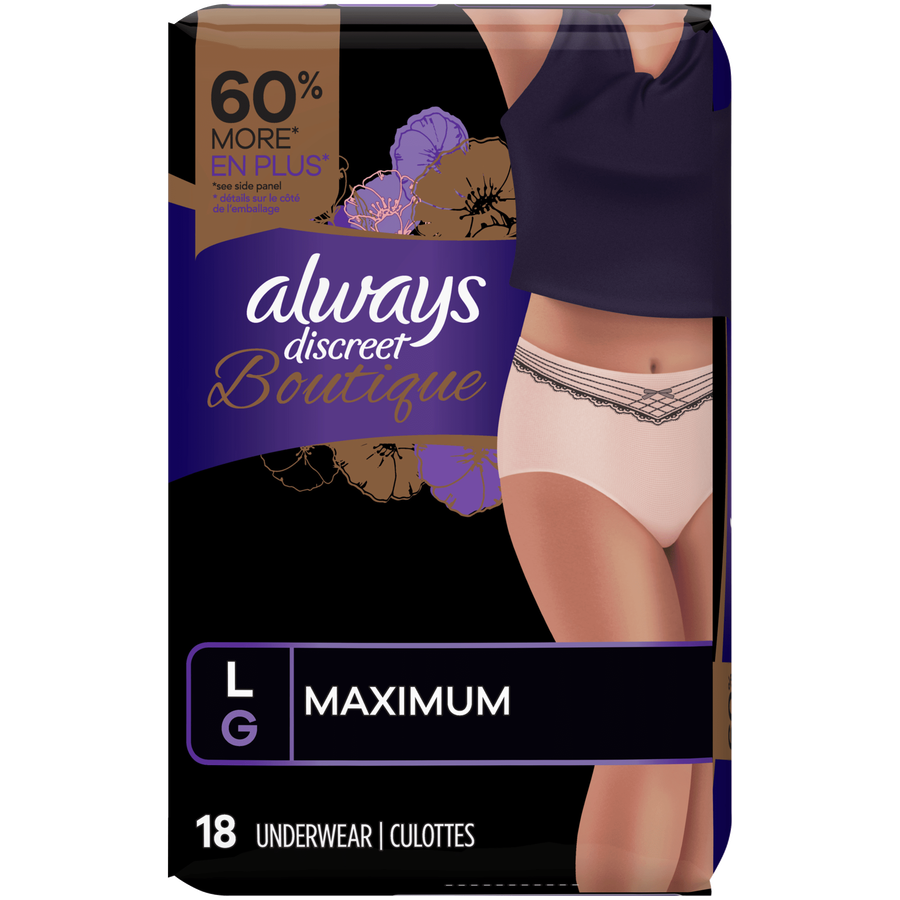 Always Discreet Boutique Max Incontinence Underwear, Large, 18 ct, , large image number 1