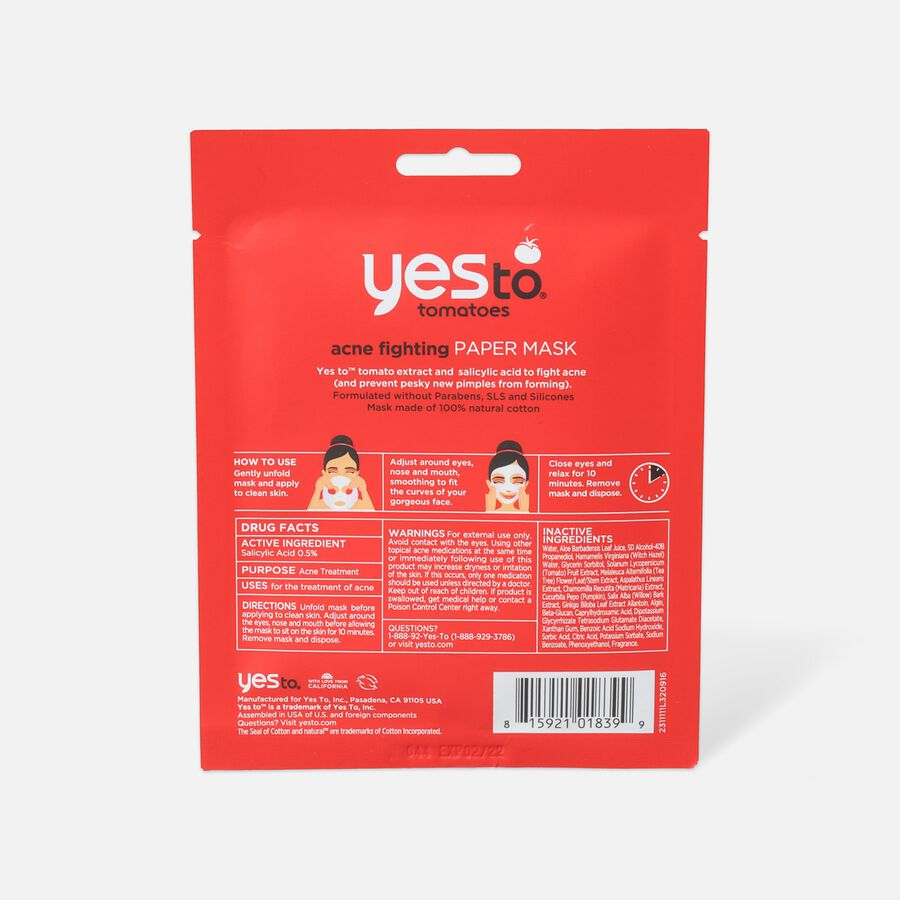 Yes To Tomatoes Acne-Fighting Paper Mask, Single Use, , large image number 1