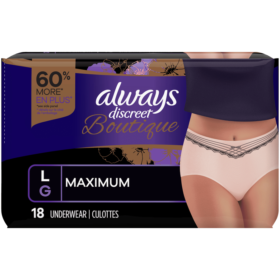 Always Discreet Boutique Max Incontinence Underwear, Large, 18 ct, , large image number 0
