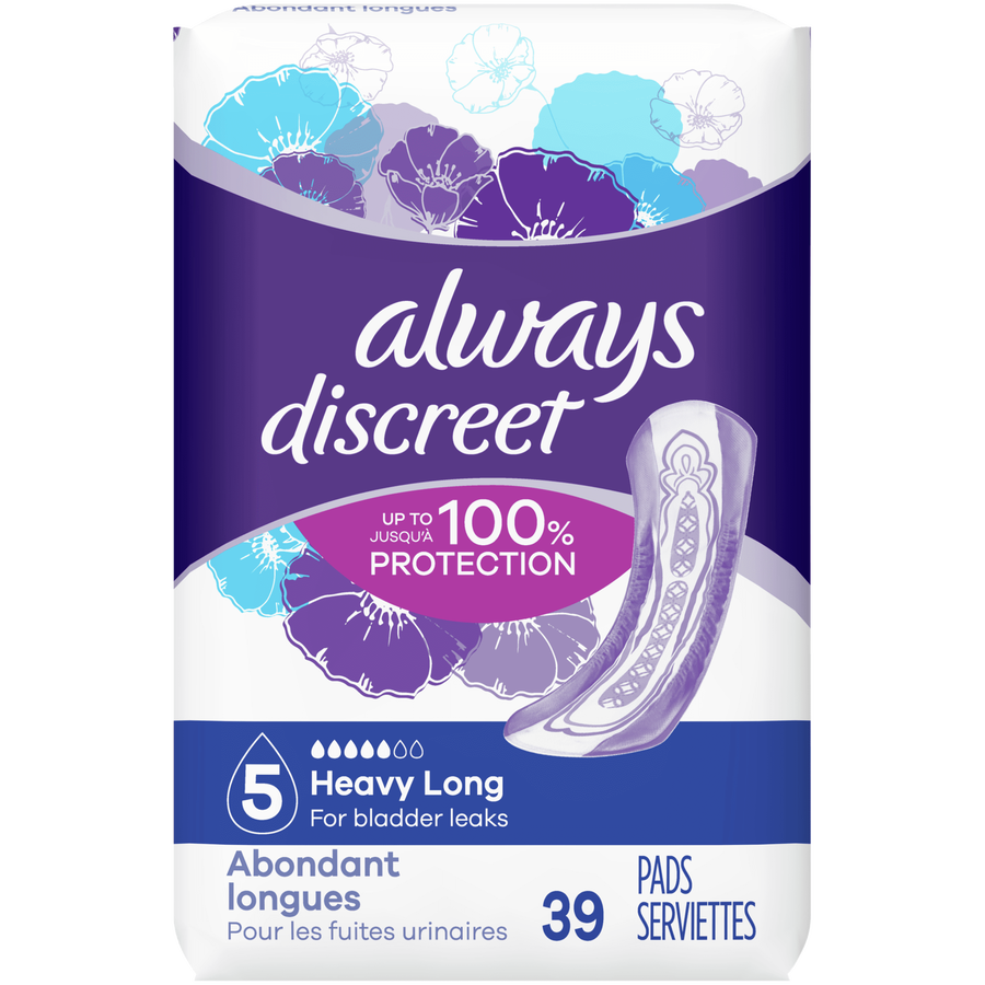 Always Discreet Long Incontinence Pads, , large image number 1