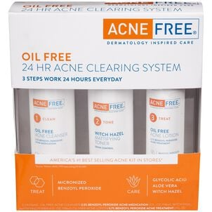 AcneFree Oil Free 24 HR Acne Clearing System, 3 Piece Kit