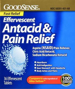 GoodSense® Effervescent Antacid & Pain Relief, 36 ct