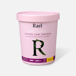 Rael Organic Cotton Core Tampons with Plant Based Compact Applicators