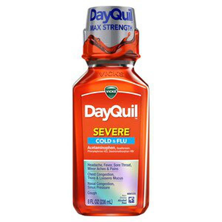 Vicks DayQuil Severe Liquid, 8 oz, , large image number 0
