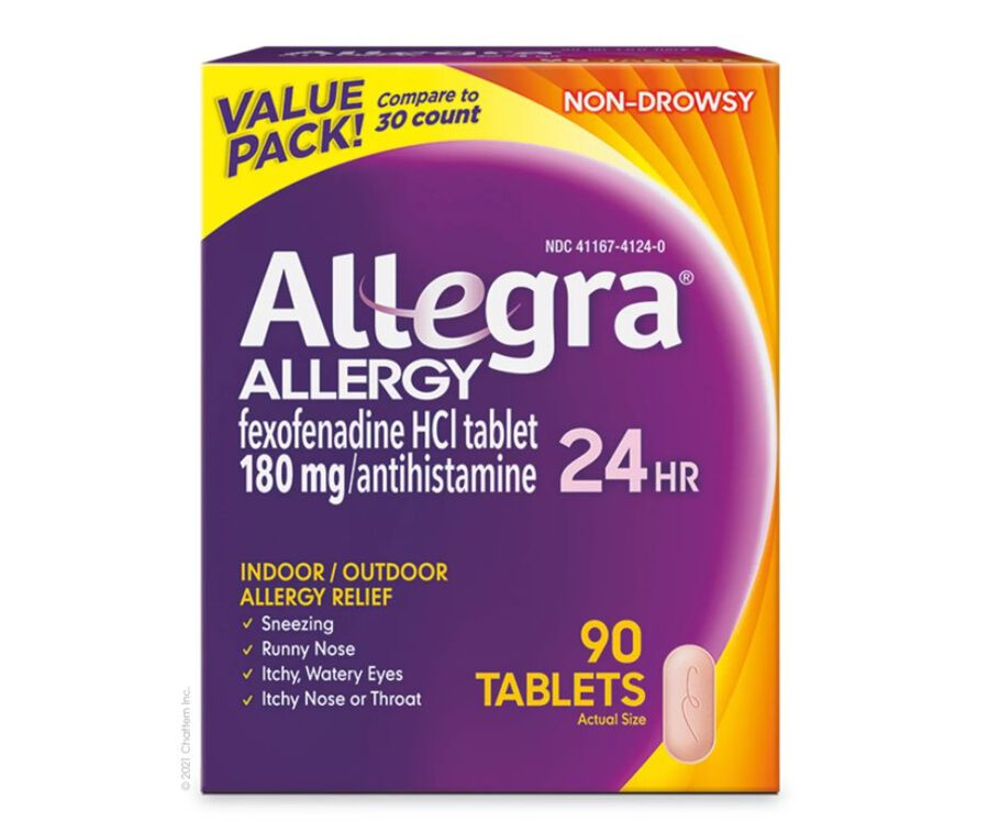 Allegra Adult Non-Drowsy Antihistamine Tablets, 24-Hour Allergy Relief, 180 mg, , large image number 1