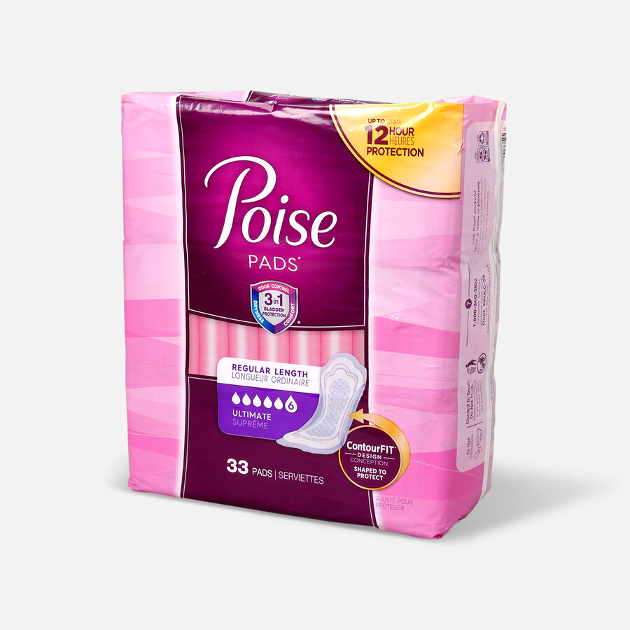 Poise Incontinence Pads, Ultimate Absorbency, Regular, 33 Count, , large image number 1
