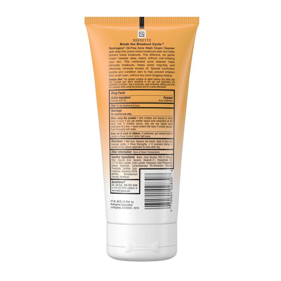 Neutrogena Oil-Free Acne Wash Cream Cleanser, 6.7 fl oz, , large image number 1