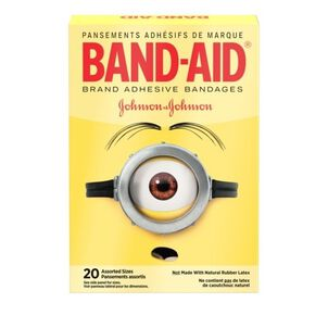 Band-Aid Adhesive  Assorted Bandages, Minions, 20 ct.