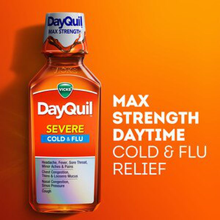 Vicks DayQuil Severe Liquid, 8 oz, , large image number 5