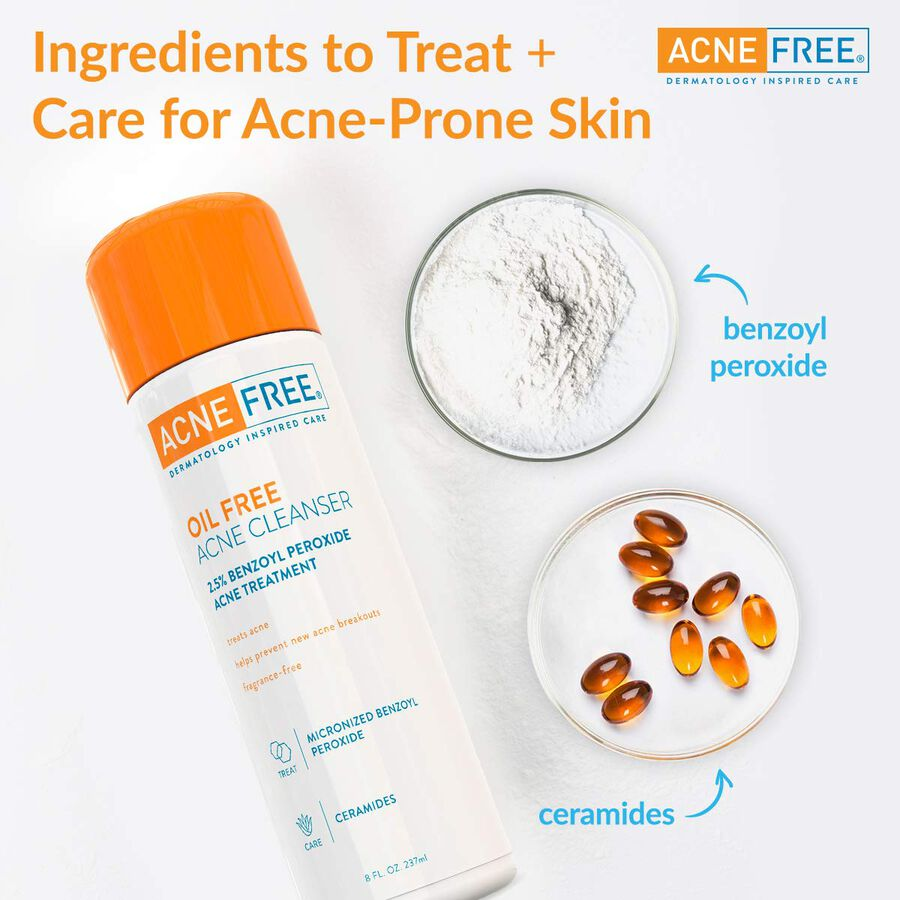 AcneFree Oil Free Facial Cleanser, 8 oz, , large image number 2