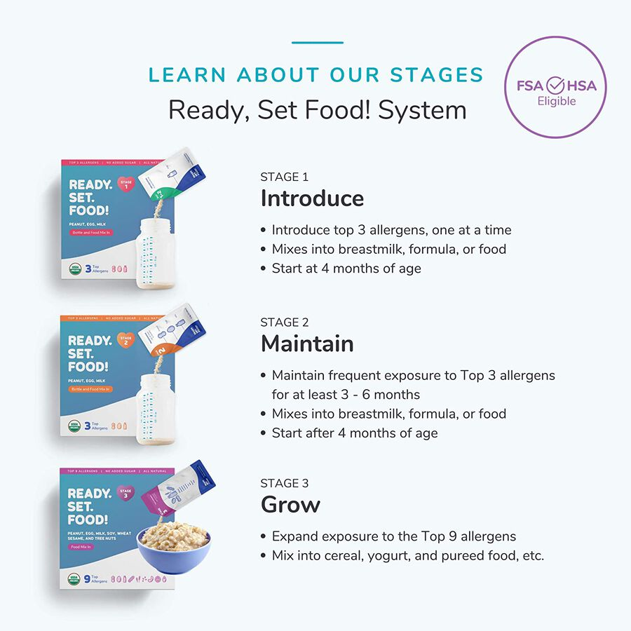 Ready, Set, Food! Early Allergen Introduction System for Babies 4+ Months, Stage 1, 30 day supply, , large image number 5