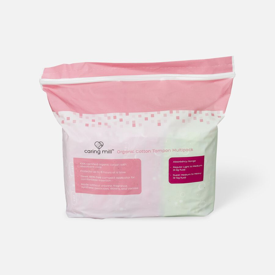 Caring Mill™ Organic Cotton Regular /Super Tampon Assorted, , large image number 1