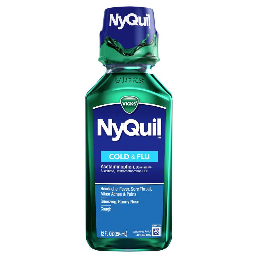 Vicks Nyquil Cold & Flu, Original, 12 oz, , large image number 0